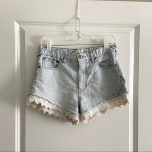 Free People Shorts - Free People Pinstripe Lace Denim Jean Shorts 27